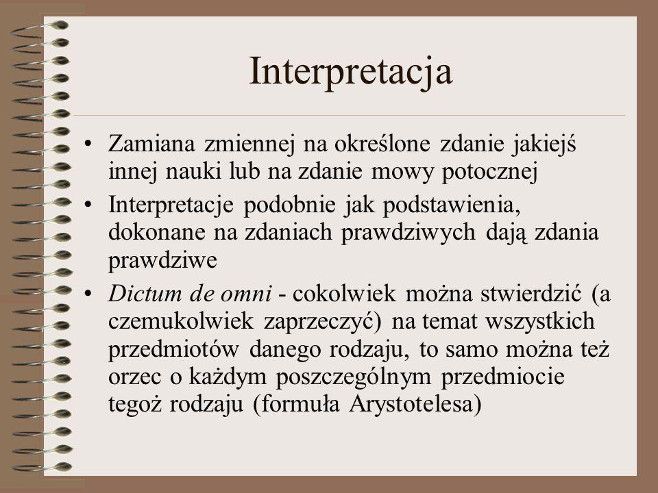 Interpretacja Zamiana zmiennej na określone zdanie jakiejś innej nauki lub na zdanie mowy potocznej.