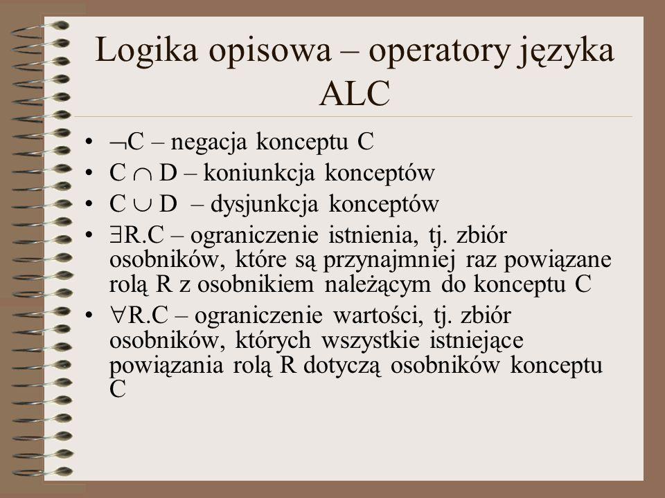 Logika opisowa – operatory języka ALC