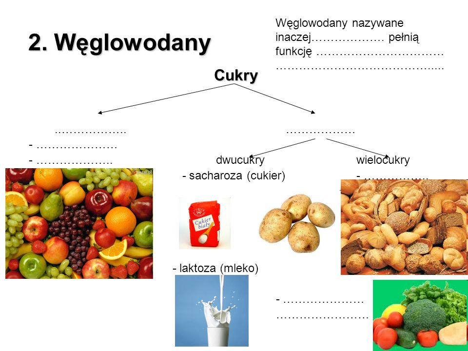 2. Węglowodany Węglowodany nazywane inaczej………………. pełnią funkcję …………………………… …………………………………..... Cukry.