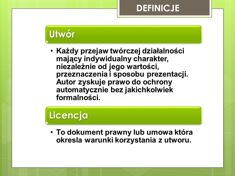 Utwór Licencja DEFINICJE