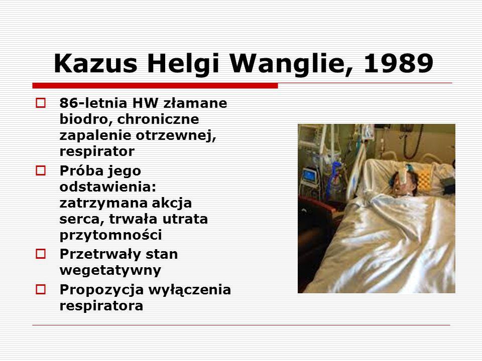 Kazus Helgi Wanglie, 1989 86-letnia HW złamane biodro, chroniczne zapalenie otrzewnej, respirator.