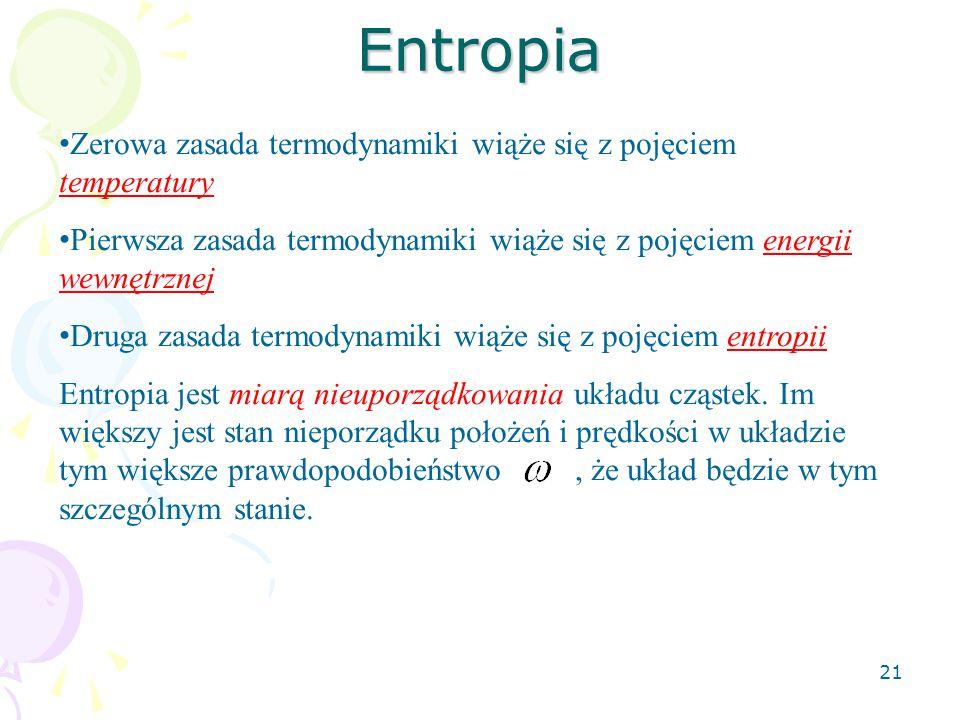 Entropia Zerowa zasada termodynamiki wiąże się z pojęciem temperatury