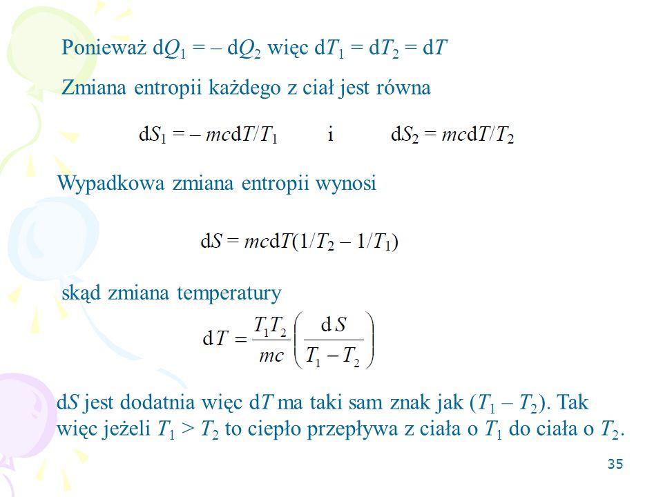 Ponieważ dQ1 = – dQ2 więc dT1 = dT2 = dT