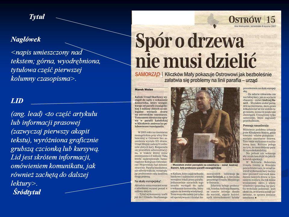 Tytuł Nagłówek. <napis umieszczony nad tekstem; górna, wyodrębniona, tytułowa część pierwszej kolumny czasopisma>.
