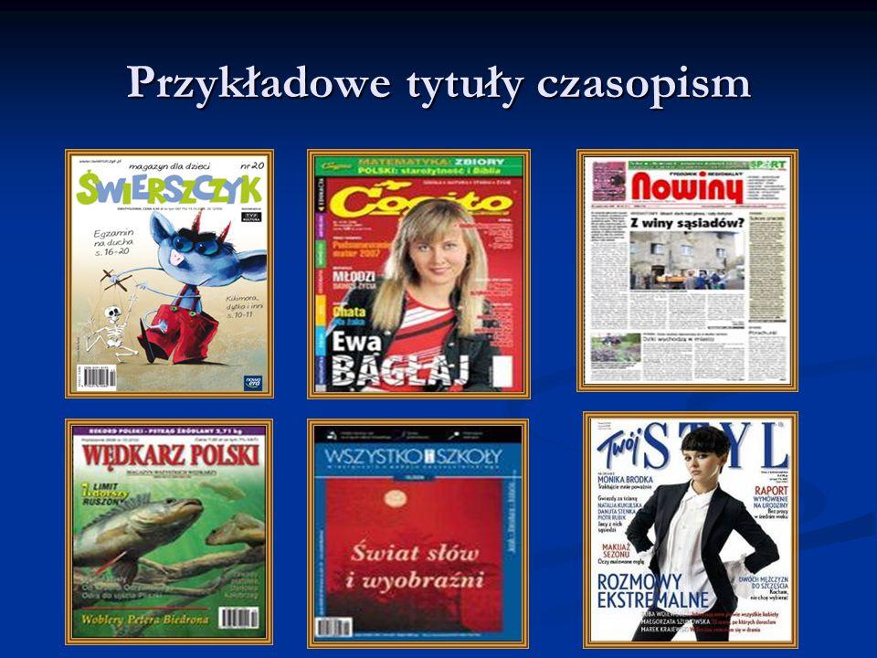 Przykładowe tytuły czasopism