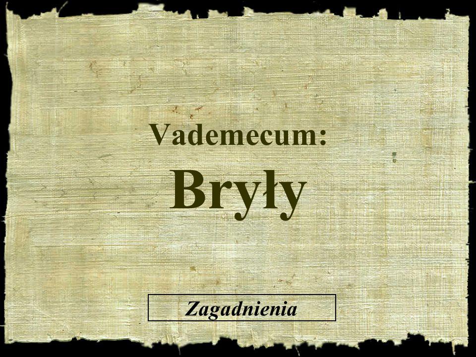 Vademecum: Bryły Zagadnienia