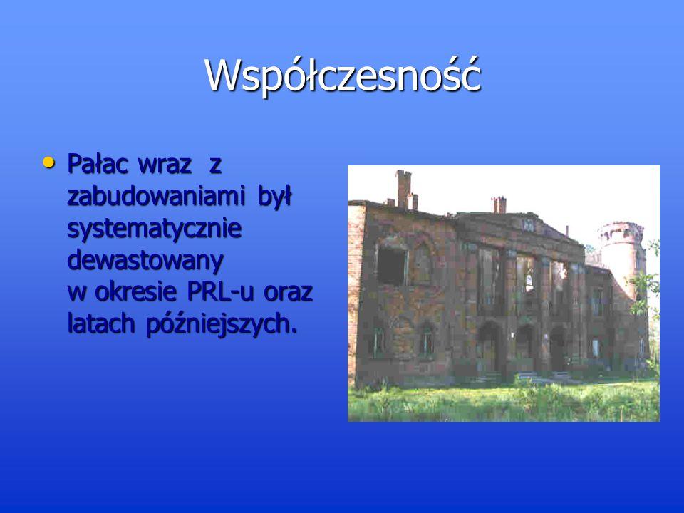 Współczesność Pałac wraz z zabudowaniami był systematycznie dewastowany w okresie PRL-u oraz latach późniejszych.