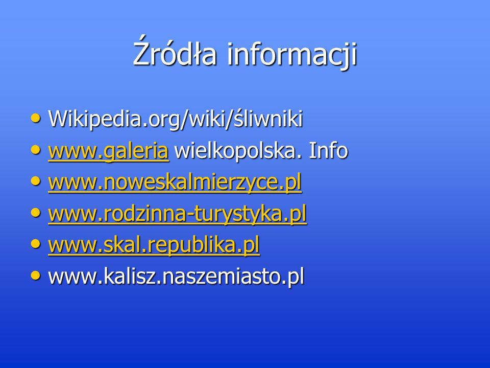 Źródła informacji Wikipedia.org/wiki/śliwniki