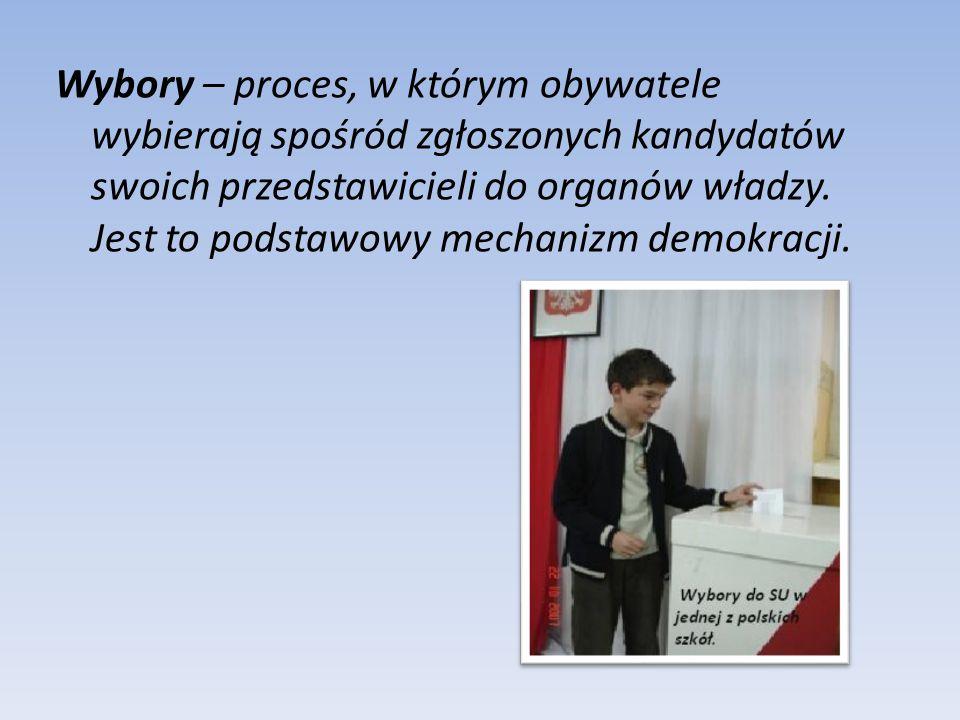 Wybory – proces, w którym obywatele wybierają spośród zgłoszonych kandydatów swoich przedstawicieli do organów władzy.