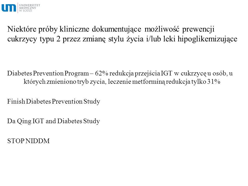 Niektóre próby kliniczne dokumentujące możliwość prewencji cukrzycy typu 2 przez zmianę stylu życia i/lub leki hipoglikemizujące