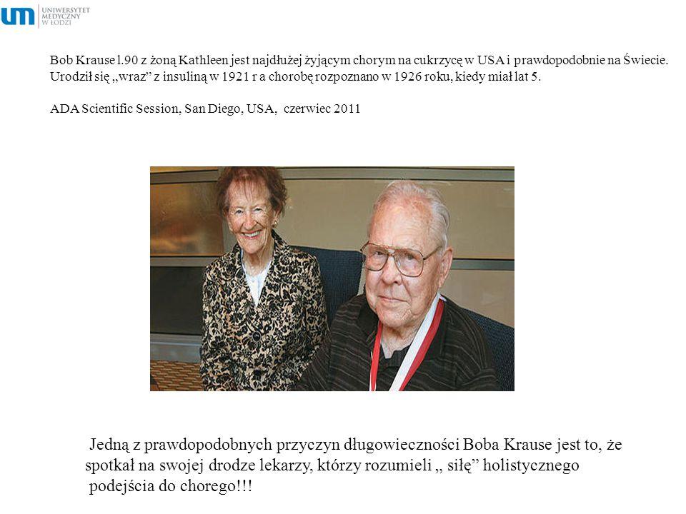 """Bob Krause l.90 z żoną Kathleen jest najdłużej żyjącym chorym na cukrzycę w USA i prawdopodobnie na Świecie. Urodził się """"wraz z insuliną w 1921 r a chorobę rozpoznano w 1926 roku, kiedy miał lat 5. ADA Scientific Session, San Diego, USA, czerwiec 2011"""