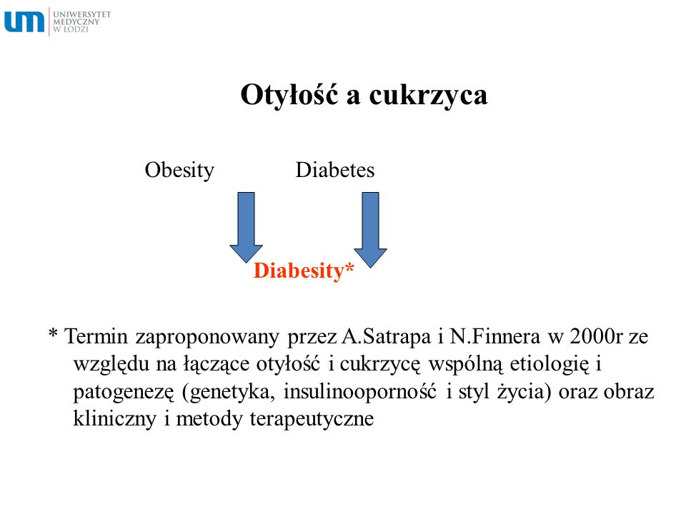 Otyłość a cukrzyca Obesity Diabetes Diabesity*