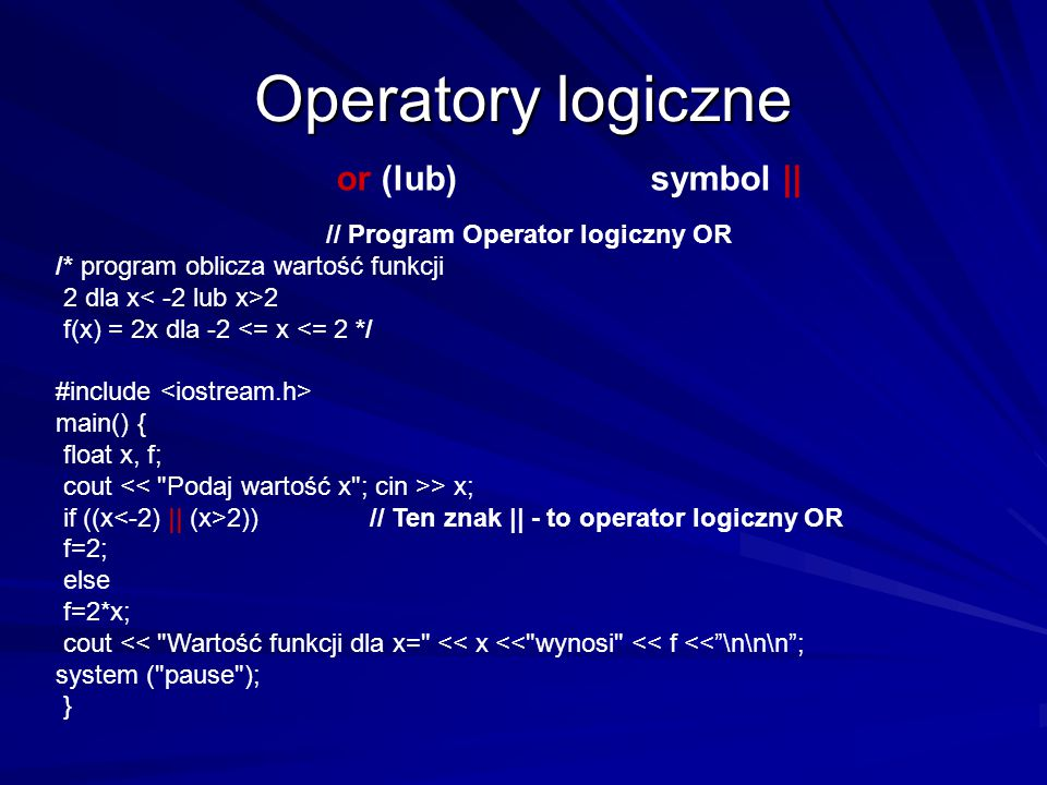 // Program Operator logiczny OR