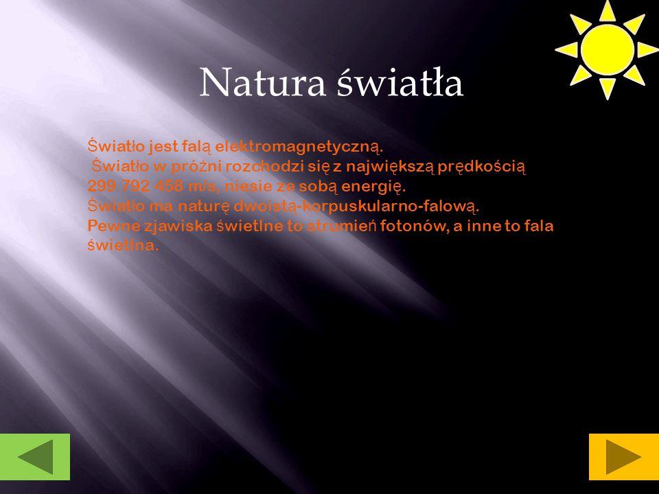 Natura światła Światło jest falą elektromagnetyczną.