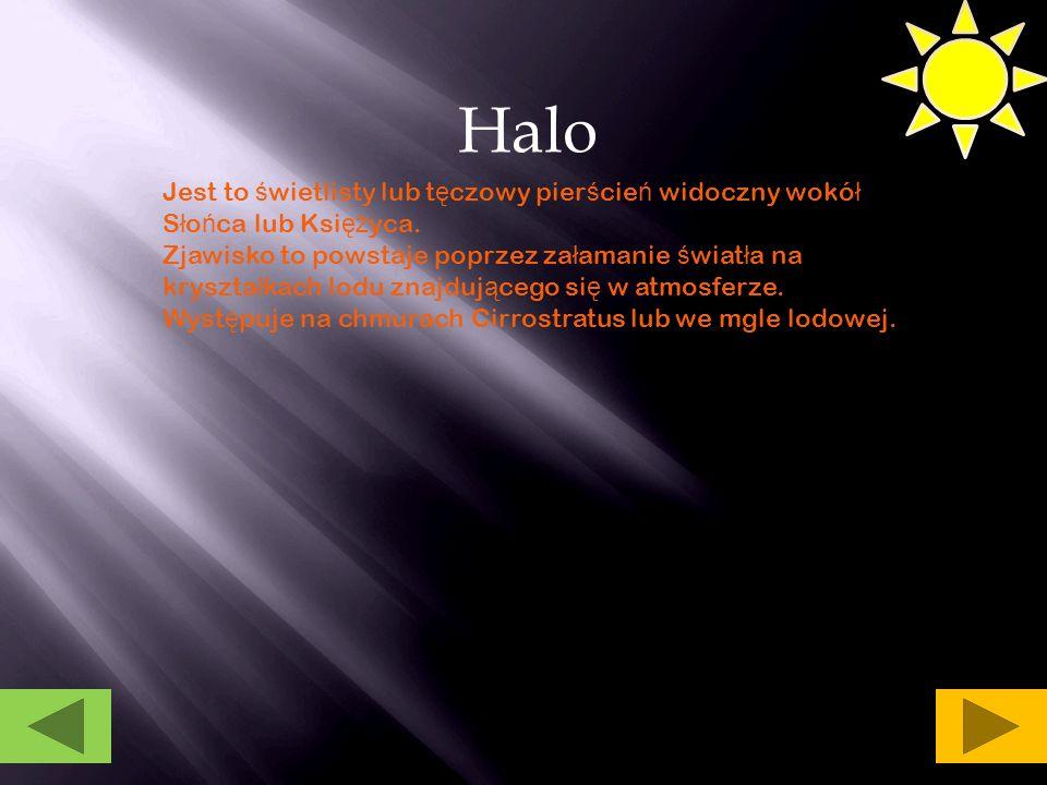 Halo Jest to świetlisty lub tęczowy pierścień widoczny wokół Słońca lub Księżyca.