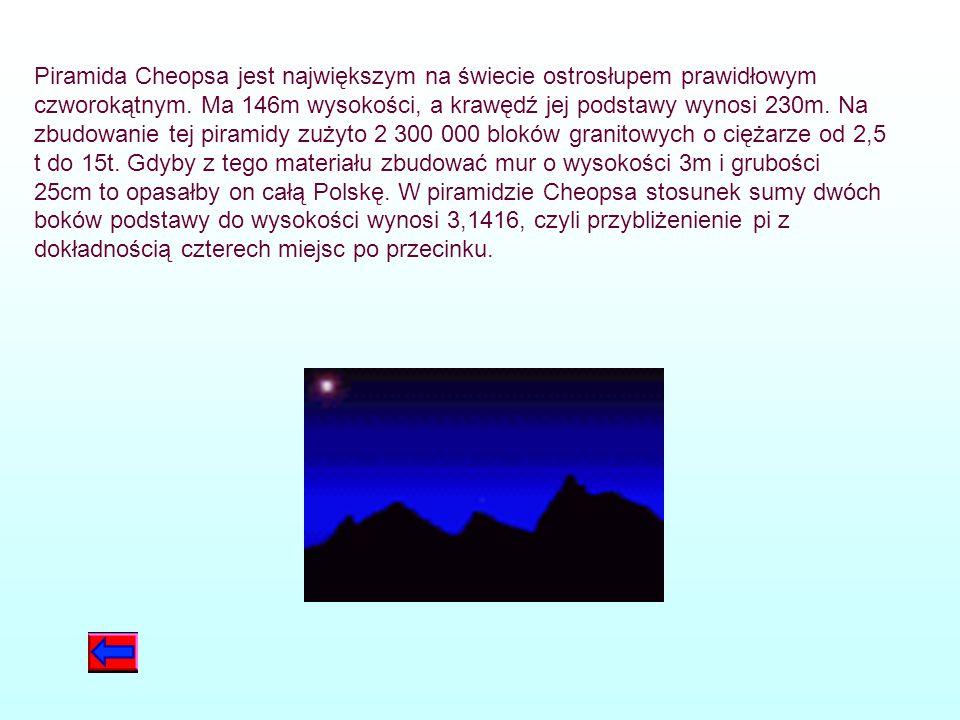 Piramida Cheopsa jest największym na świecie ostrosłupem prawidłowym czworokątnym.