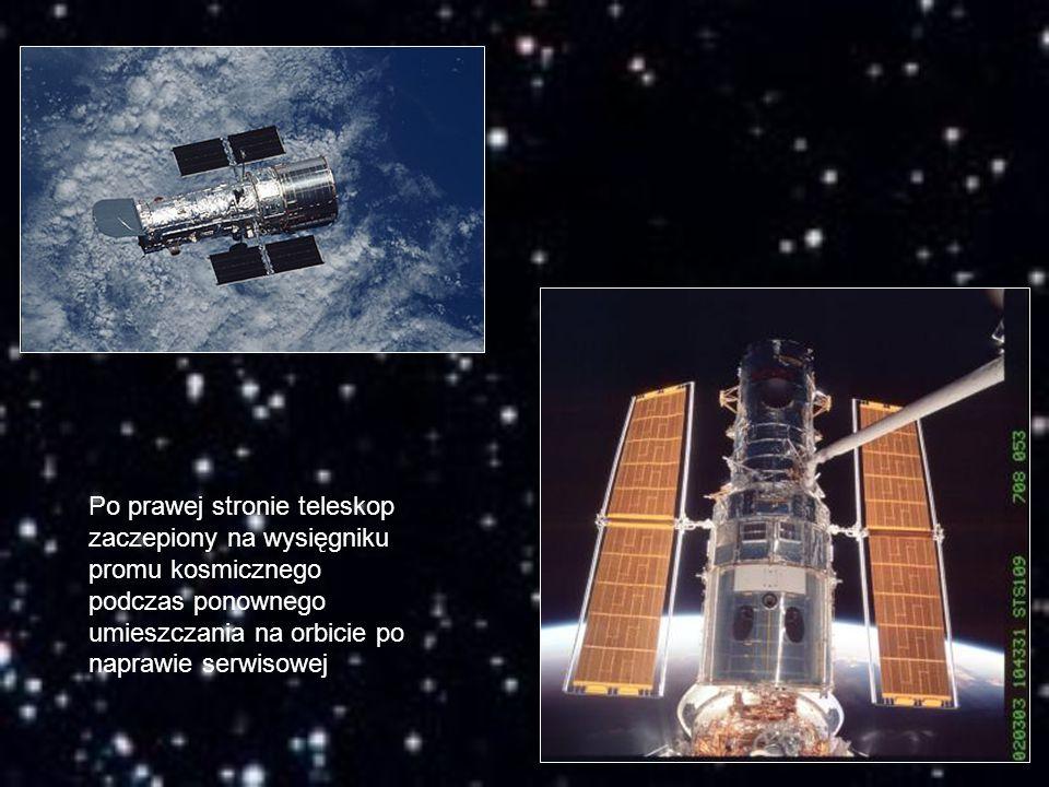 Po prawej stronie teleskop zaczepiony na wysięgniku promu kosmicznego podczas ponownego umieszczania na orbicie po naprawie serwisowej