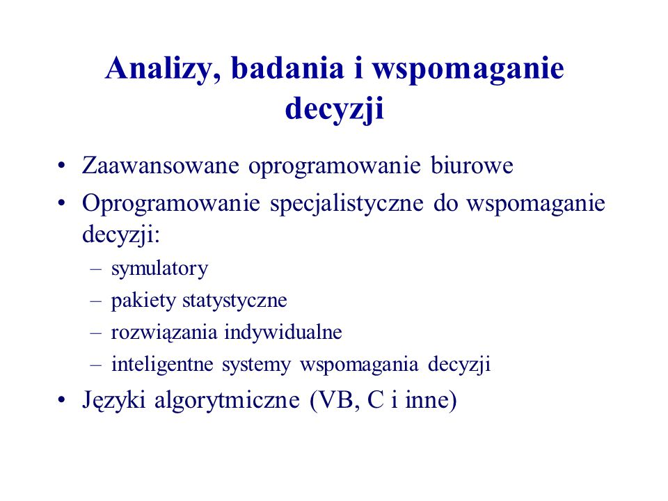Analizy, badania i wspomaganie decyzji
