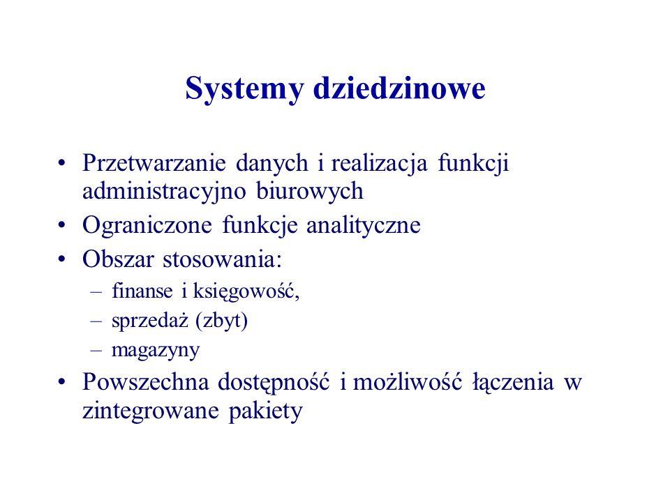 Systemy dziedzinowe Przetwarzanie danych i realizacja funkcji administracyjno biurowych. Ograniczone funkcje analityczne.