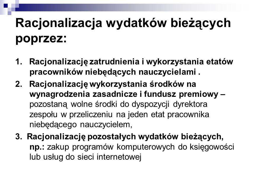 Racjonalizacja wydatków bieżących poprzez:
