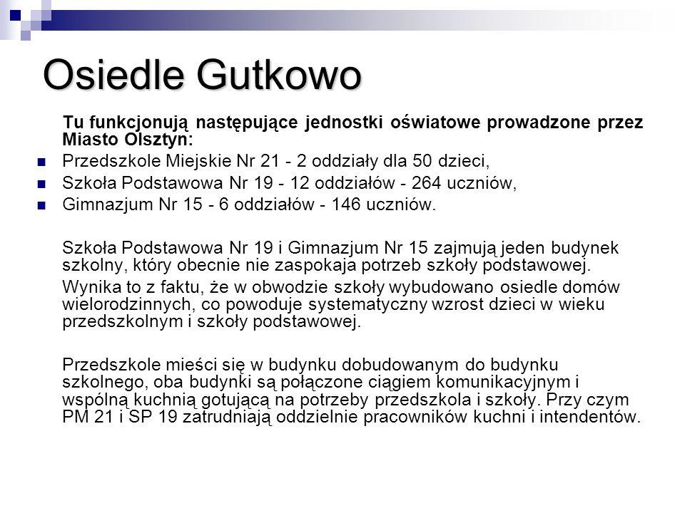 Osiedle Gutkowo Tu funkcjonują następujące jednostki oświatowe prowadzone przez Miasto Olsztyn: