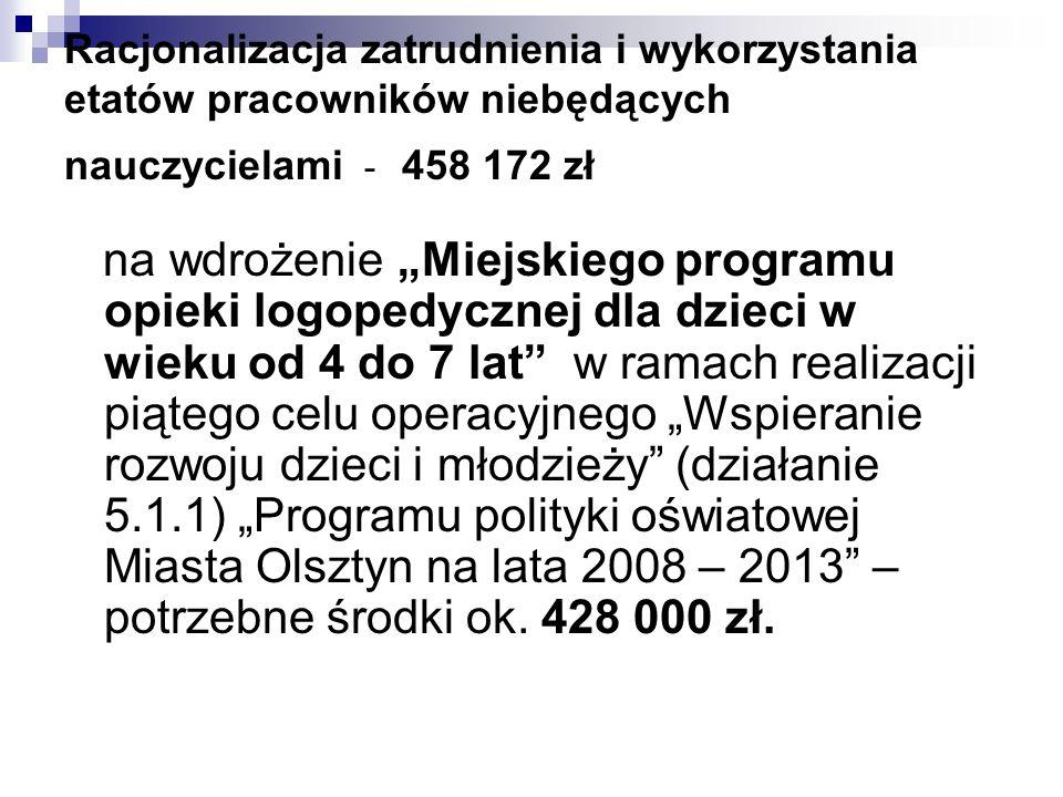 Racjonalizacja zatrudnienia i wykorzystania etatów pracowników niebędących nauczycielami - 458 172 zł