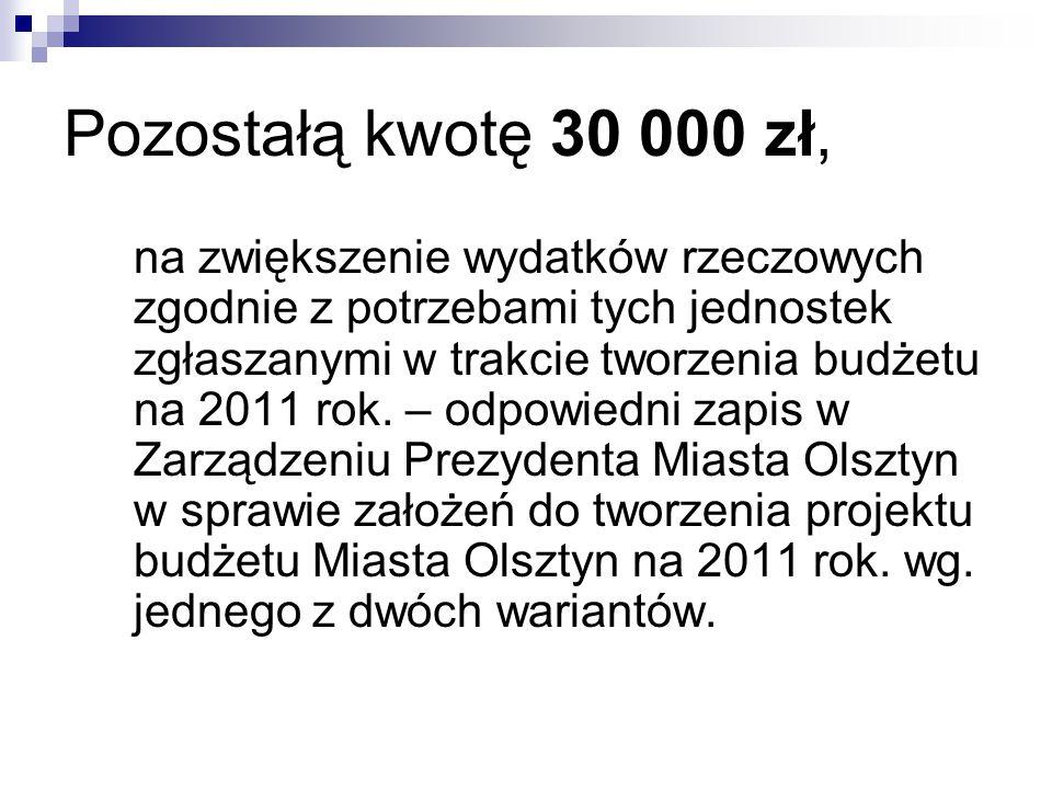 Pozostałą kwotę 30 000 zł,