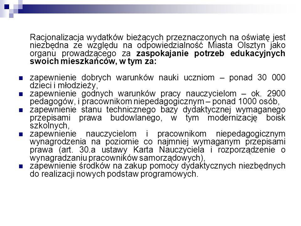 Racjonalizacja wydatków bieżących przeznaczonych na oświatę jest niezbędna ze względu na odpowiedzialność Miasta Olsztyn jako organu prowadzącego za zaspokajanie potrzeb edukacyjnych swoich mieszkańców, w tym za: