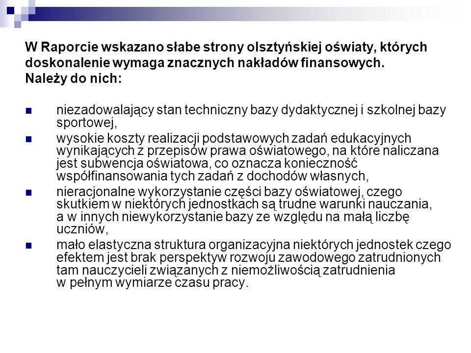 W Raporcie wskazano słabe strony olsztyńskiej oświaty, których