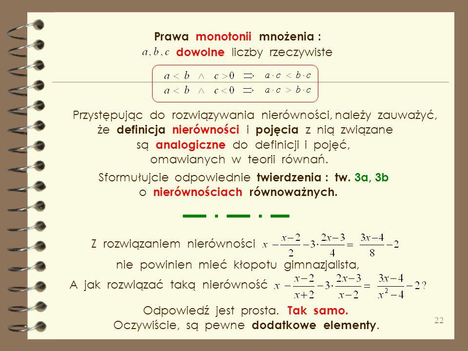 Prawa monotonii mnożenia :