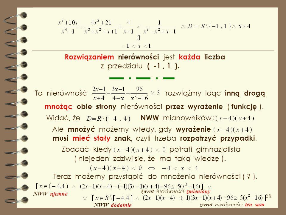 Rozwiązaniem nierówności jest każda liczba z przedziału ( -1 , 1 ).