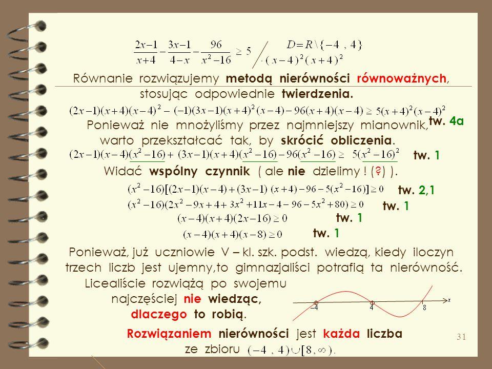 Równanie rozwiązujemy metodą nierówności równoważnych,