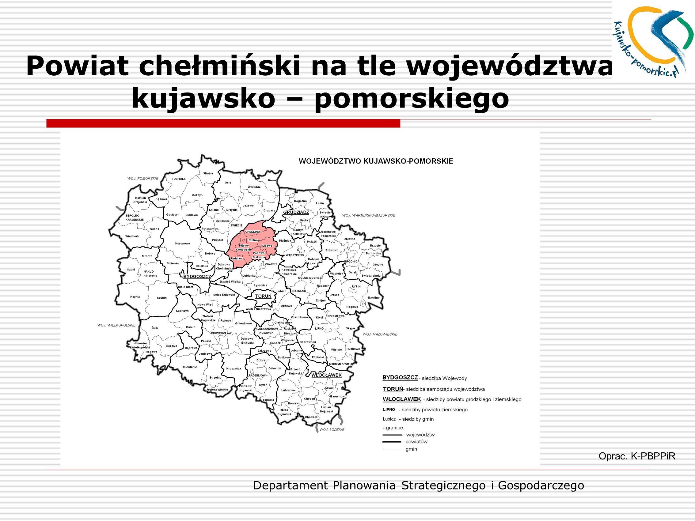 Powiat chełmiński na tle województwa kujawsko – pomorskiego
