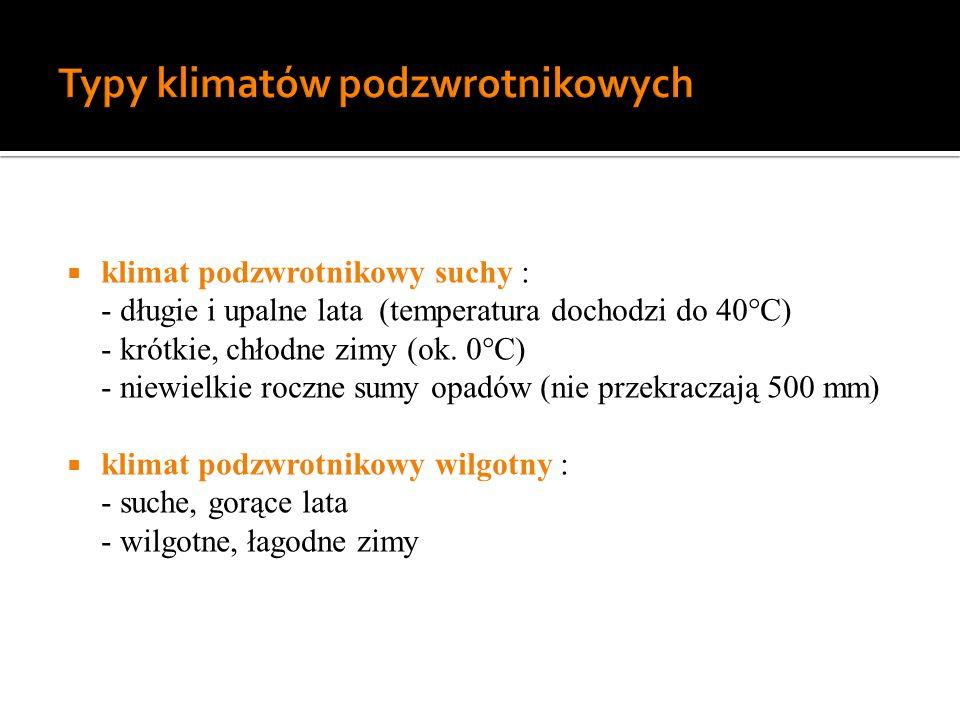 Typy klimatów podzwrotnikowych