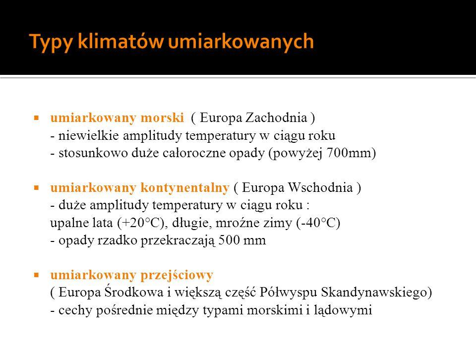 Typy klimatów umiarkowanych
