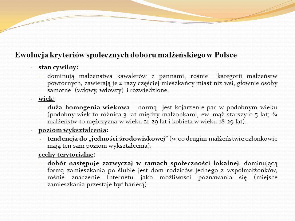 Ewolucja kryteriów społecznych doboru małżeńskiego w Polsce