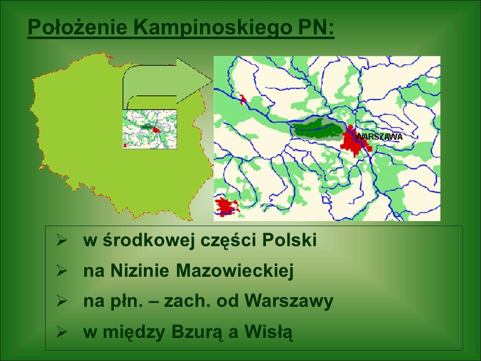 Położenie Kampinoskiego PN: