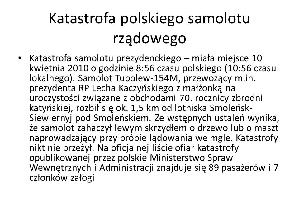 Katastrofa polskiego samolotu rządowego