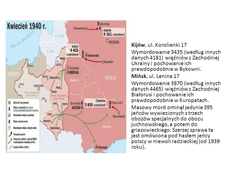 Kijów, ul. Korolienki 17 Wymordowanie 3435 (według innych danych 4181) więźniów z Zachodniej Ukrainy i pochowanie ich prawdopodobnie w Bykowni.