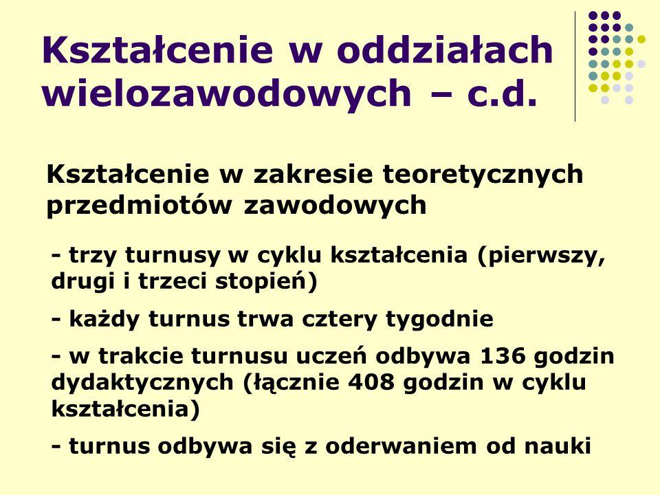 Kształcenie w oddziałach wielozawodowych – c.d.