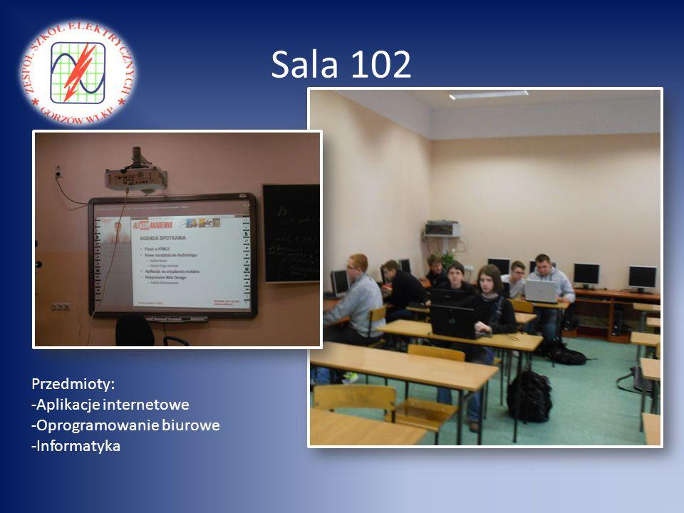 Sala 102 Przedmioty: Aplikacje internetowe Oprogramowanie biurowe