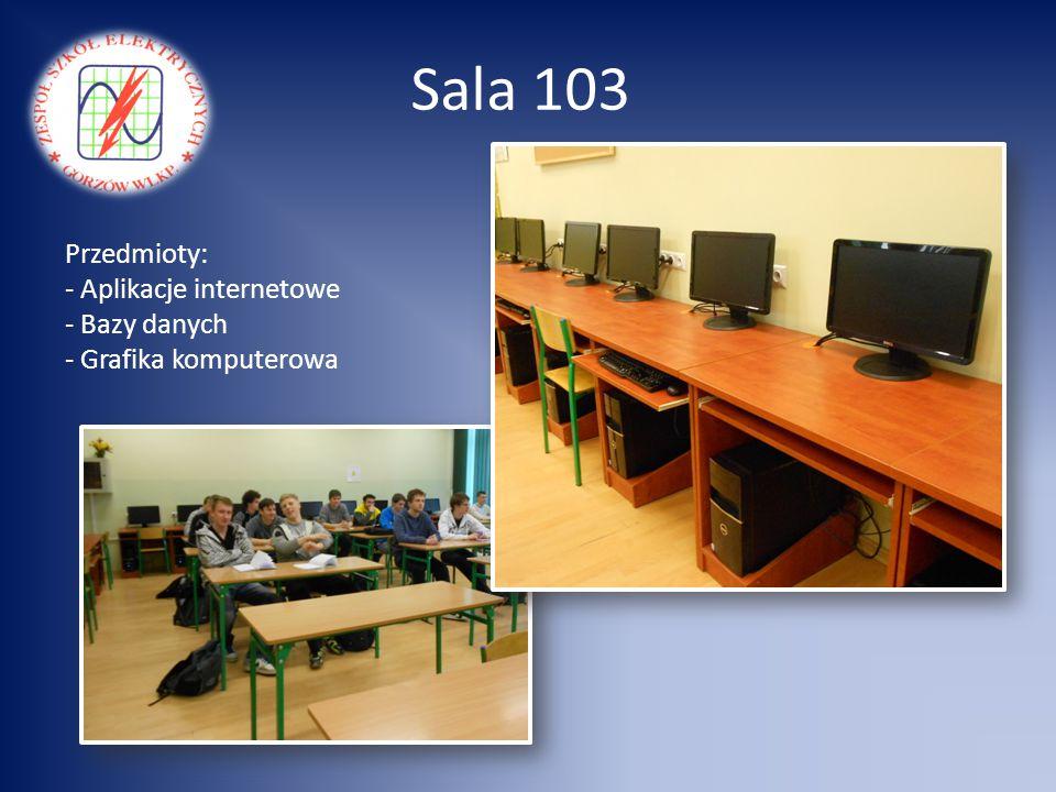 Sala 103 Przedmioty: Aplikacje internetowe Bazy danych