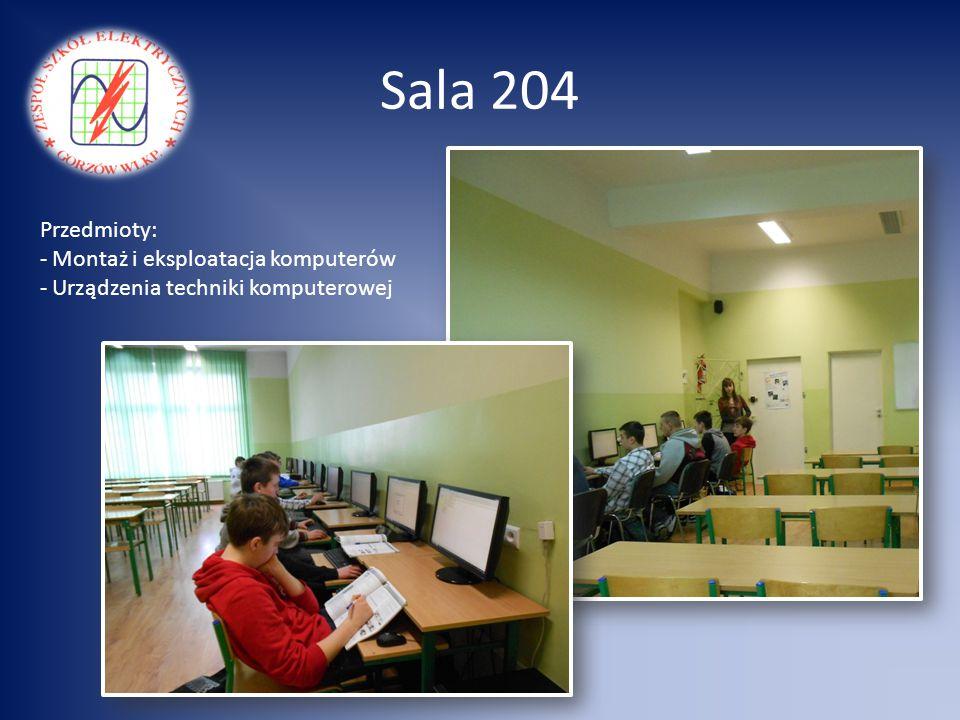 Sala 204 Przedmioty: Montaż i eksploatacja komputerów