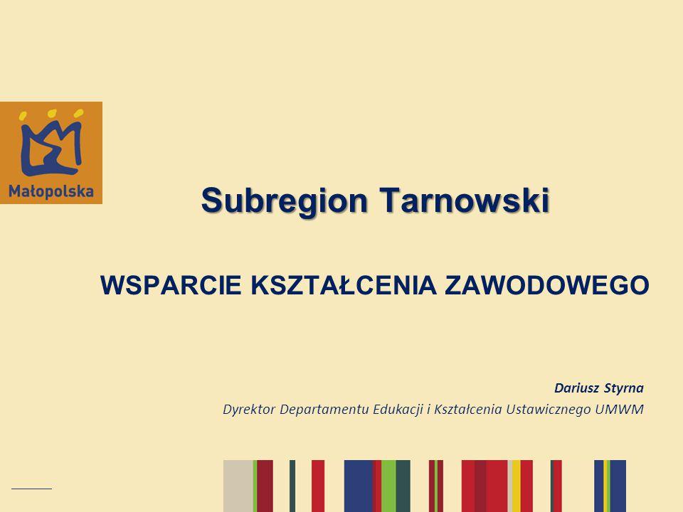 Subregion Tarnowski WSPARCIE KSZTAŁCENIA ZAWODOWEGO