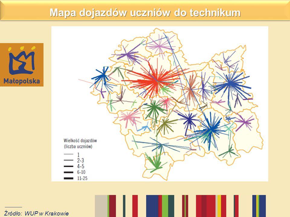 Mapa dojazdów uczniów do technikum