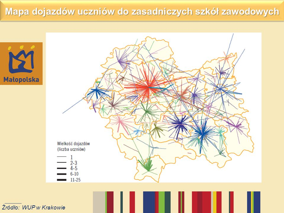 Mapa dojazdów uczniów do zasadniczych szkół zawodowych