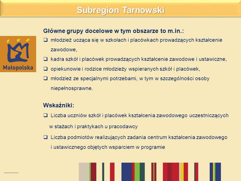 Subregion Tarnowski Główne grupy docelowe w tym obszarze to m.in.: