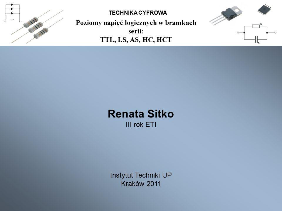 Poziomy napięć logicznych w bramkach serii: TTL, LS, AS, HC, HCT