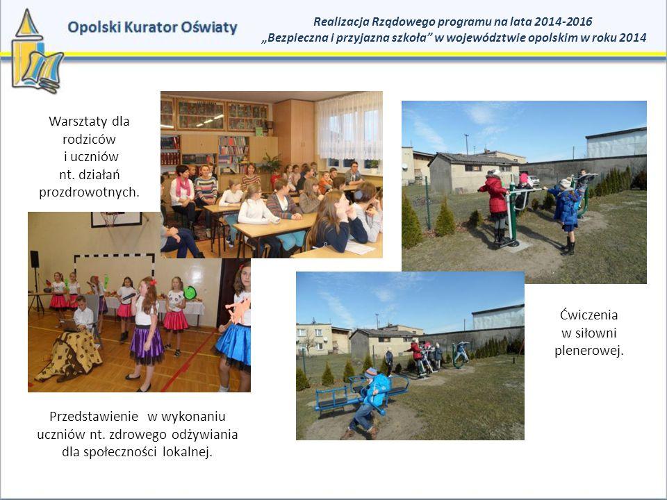 Warsztaty dla rodziców i uczniów nt. działań prozdrowotnych.