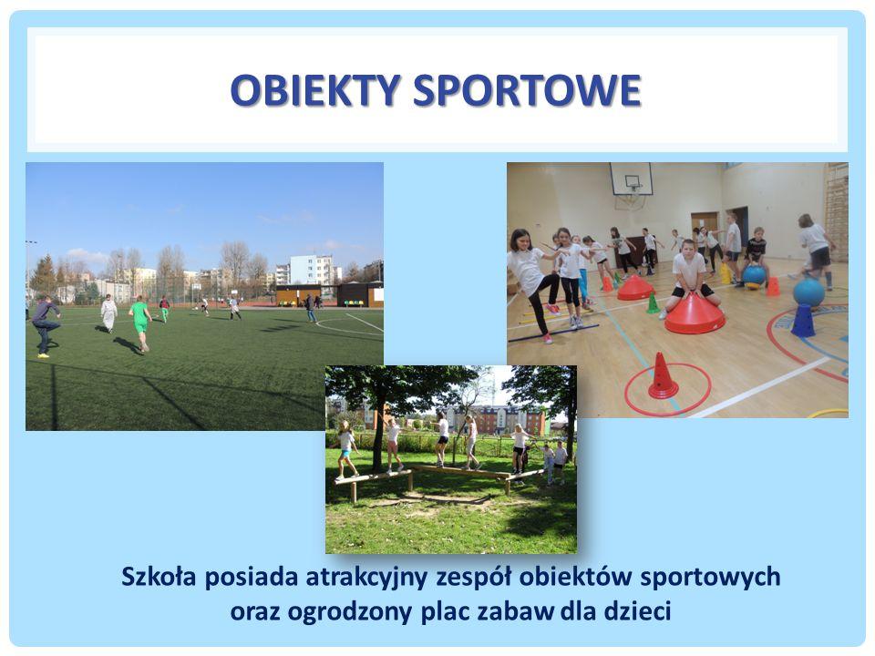 Obiekty sportowe Szkoła posiada atrakcyjny zespół obiektów sportowych oraz ogrodzony plac zabaw dla dzieci.